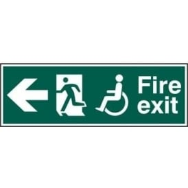 Fire Exit Sign suitable for Disabled with Man Running Left and Arrow Left