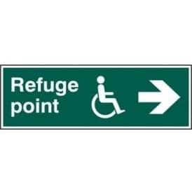 Disabled Refuge Point with Arrow Right Sign