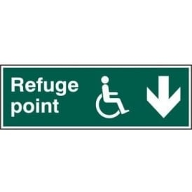 Disabled Refuge Point with Arrow Down Sign