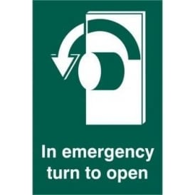 In Emergency Turn To Open with Arrow Left Sign