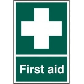 First Aid Sign - White on Green - 200 x 300