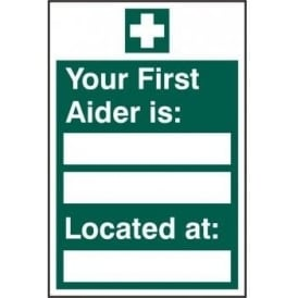 First Aider Name and Location Sign
