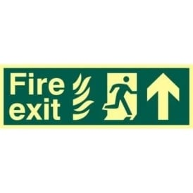 Fire Exit Sign with Man Running from Flames Right and Arrow Up