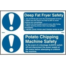 Fat Fryer and Potato Chipping Machine Safety Sign (2 per sheet)