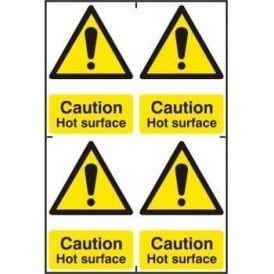 Caution Hot Surface Sign - 4 per sheet