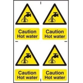 Caution Hot water Sign - 4 Per sheet