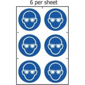 Eye Protection Image Sign - 6 per sheet