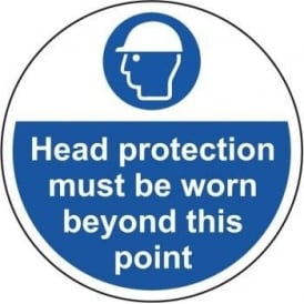 Head Protection Must be Worn in this Area Floor Sign