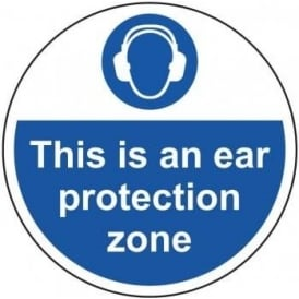 This is an Ear Protection Zone Area Floor Sign