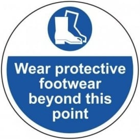 Wear Protective Footwear Beyond This point Floor Sign