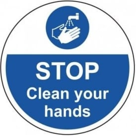 Stop Clean Your Hands Floor Sign