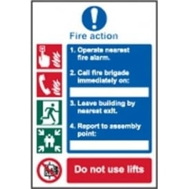 Fire Action Sign - SAV/RPVC/PVC