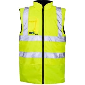 Hi Vis Bodywarmer Reversible Fleece Lined Yellow EN ISO 20471