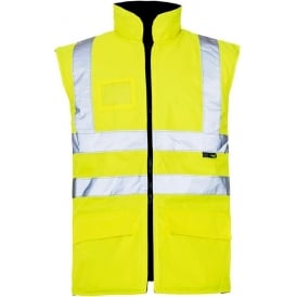 Hi Vis Bodywarmer Reversible Quilted Lining Yellow EN471
