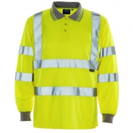Hi Vis Long Sleeve Polo Shirt Yellow ISO 20471 Class 2