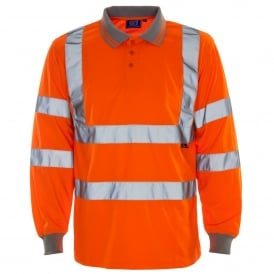 Hi Vis Long Sleeve Polo Shirt Orange GO/RT 3279