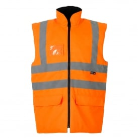 Hi Vis Bodywarmer Reversible Quilted Lining Orange GO/RT 3279
