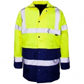 Hi Vis Parka 2 Tone Yellow & Blue EN343